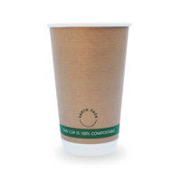 Earth Pack 16oz Compostable Cups Kraft 1000/ctn