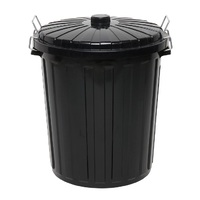 Edco 73L Black Garbage Bin with Lid