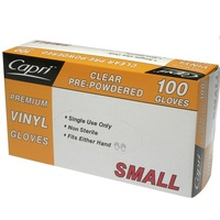 Clear Pre-Powdered Vinyl Gloves Small 100pk