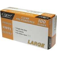Clear Pre-Powdered Vinyl Gloves Large 100pk