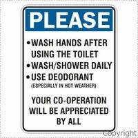 Please Wash Hands/ Shower/Deodorant 225 x 300mm Polypropylene