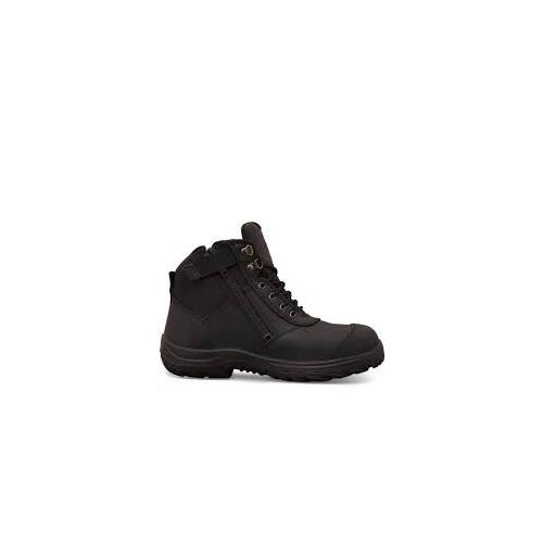 Zip Sided Ankle Boot with Bump Cap Black