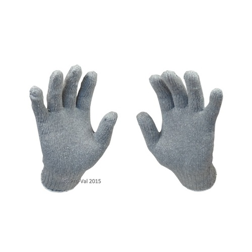 Grey Poly Cotton Gloves- Large - Pair